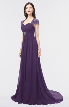 ColsBM Iris Violet Mature A-line Sweetheart Short Sleeve Zip up Sweep Train Bridesmaid Dresses