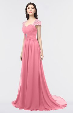 ColsBM Iris Watermelon Mature A-line Sweetheart Short Sleeve Zip up Sweep Train Bridesmaid Dresses