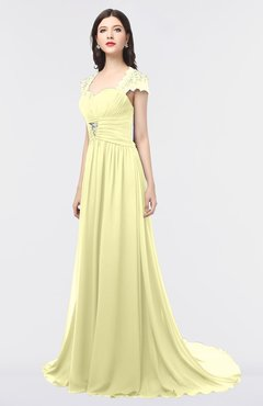 ColsBM Iris Wax Yellow Mature A-line Sweetheart Short Sleeve Zip up Sweep Train Bridesmaid Dresses