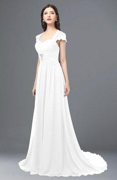 ColsBM Iris White Mature A-line Sweetheart Short Sleeve Zip up Sweep Train Bridesmaid Dresses