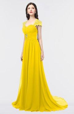 ColsBM Iris Yellow Mature A-line Sweetheart Short Sleeve Zip up Sweep Train Bridesmaid Dresses