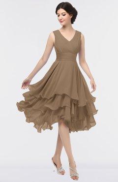 ColsBM Grace Beaver Fur Elegant V-neck Sleeveless Zip up Ruching Bridesmaid Dresses