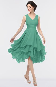 ColsBM Grace Beryl Green Elegant V-neck Sleeveless Zip up Ruching Bridesmaid Dresses