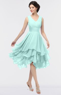 ColsBM Grace Blue Glass Elegant V-neck Sleeveless Zip up Ruching Bridesmaid Dresses