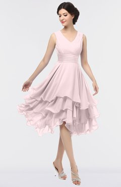 ColsBM Grace Blush Elegant V-neck Sleeveless Zip up Ruching Bridesmaid Dresses