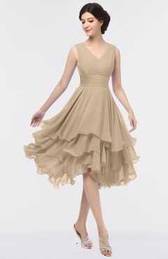 ColsBM Grace Champagne Elegant V-neck Sleeveless Zip up Ruching Bridesmaid Dresses