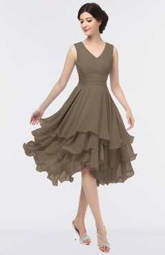 ColsBM Grace Chocolate Brown Elegant V-neck Sleeveless Zip up Ruching Bridesmaid Dresses