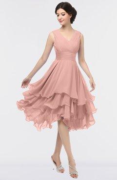 ColsBM Grace Coral Almond Elegant V-neck Sleeveless Zip up Ruching Bridesmaid Dresses