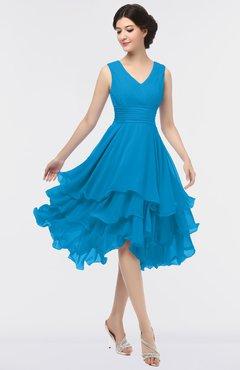 ColsBM Grace Cornflower Blue Elegant V-neck Sleeveless Zip up Ruching Bridesmaid Dresses