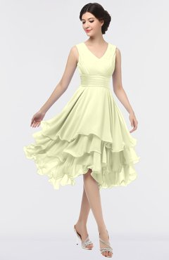 ColsBM Grace Cream Elegant V-neck Sleeveless Zip up Ruching Bridesmaid Dresses