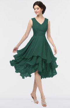 ColsBM Grace Dark Jade Elegant V-neck Sleeveless Zip up Ruching Bridesmaid Dresses