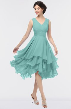 ColsBM Grace Eggshell Blue Elegant V-neck Sleeveless Zip up Ruching Bridesmaid Dresses