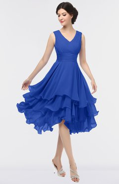 ColsBM Grace Electric Blue Elegant V-neck Sleeveless Zip up Ruching Bridesmaid Dresses