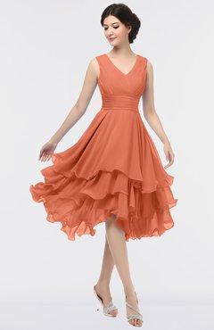 ColsBM Grace Flamingo Elegant V-neck Sleeveless Zip up Ruching Bridesmaid Dresses
