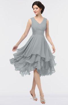 ColsBM Grace Frost Grey Elegant V-neck Sleeveless Zip up Ruching Bridesmaid Dresses