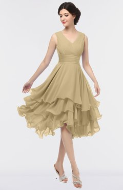 ColsBM Grace Gold Elegant V-neck Sleeveless Zip up Ruching Bridesmaid Dresses