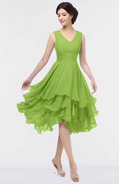 ColsBM Grace Greenery Elegant V-neck Sleeveless Zip up Ruching Bridesmaid Dresses