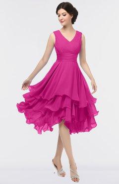 ColsBM Grace Hot Pink Elegant V-neck Sleeveless Zip up Ruching Bridesmaid Dresses