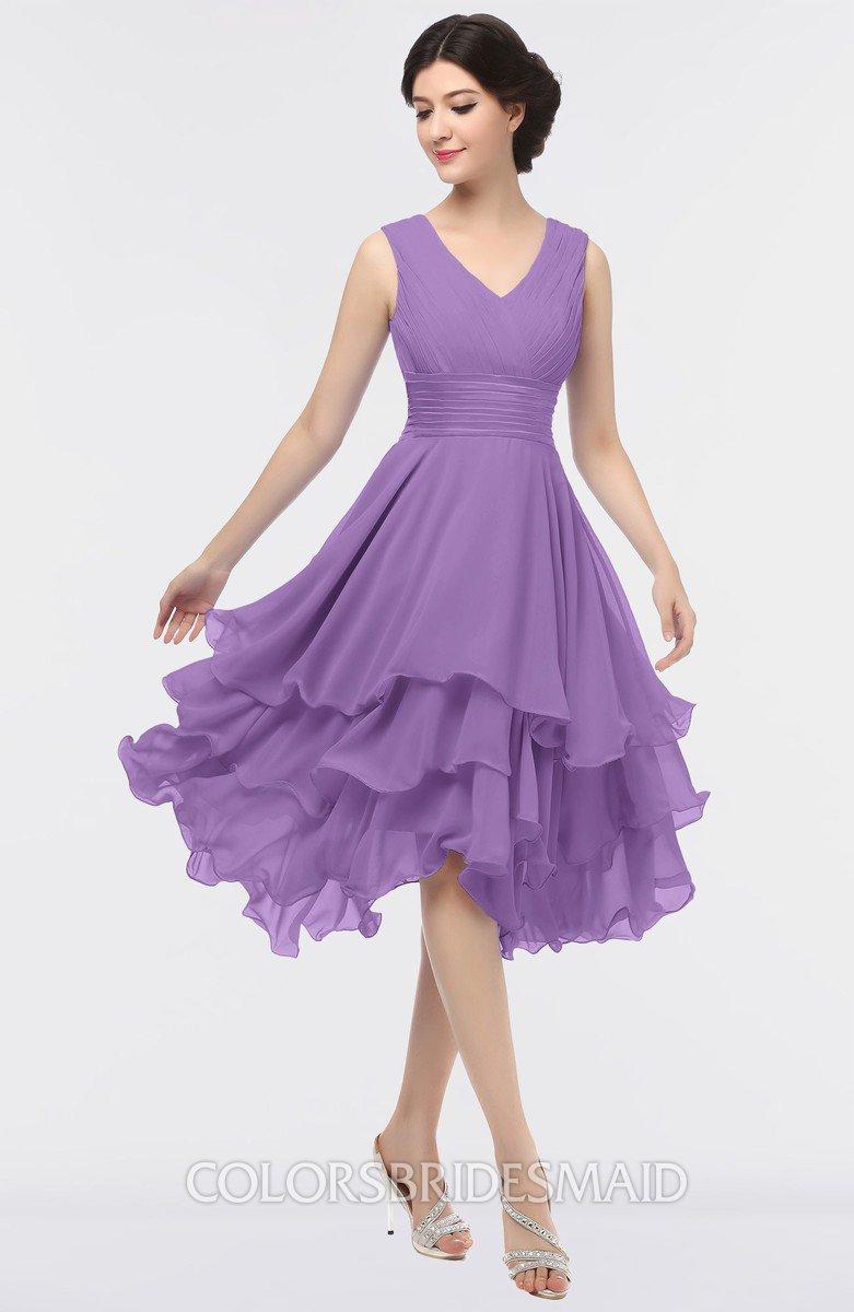 f4faf4da42a ColsBM Grace Hyacinth Elegant V-neck Sleeveless Zip up Ruching Bridesmaid  Dresses