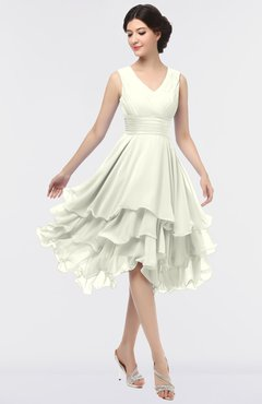 ColsBM Grace Ivory Elegant V-neck Sleeveless Zip up Ruching Bridesmaid Dresses