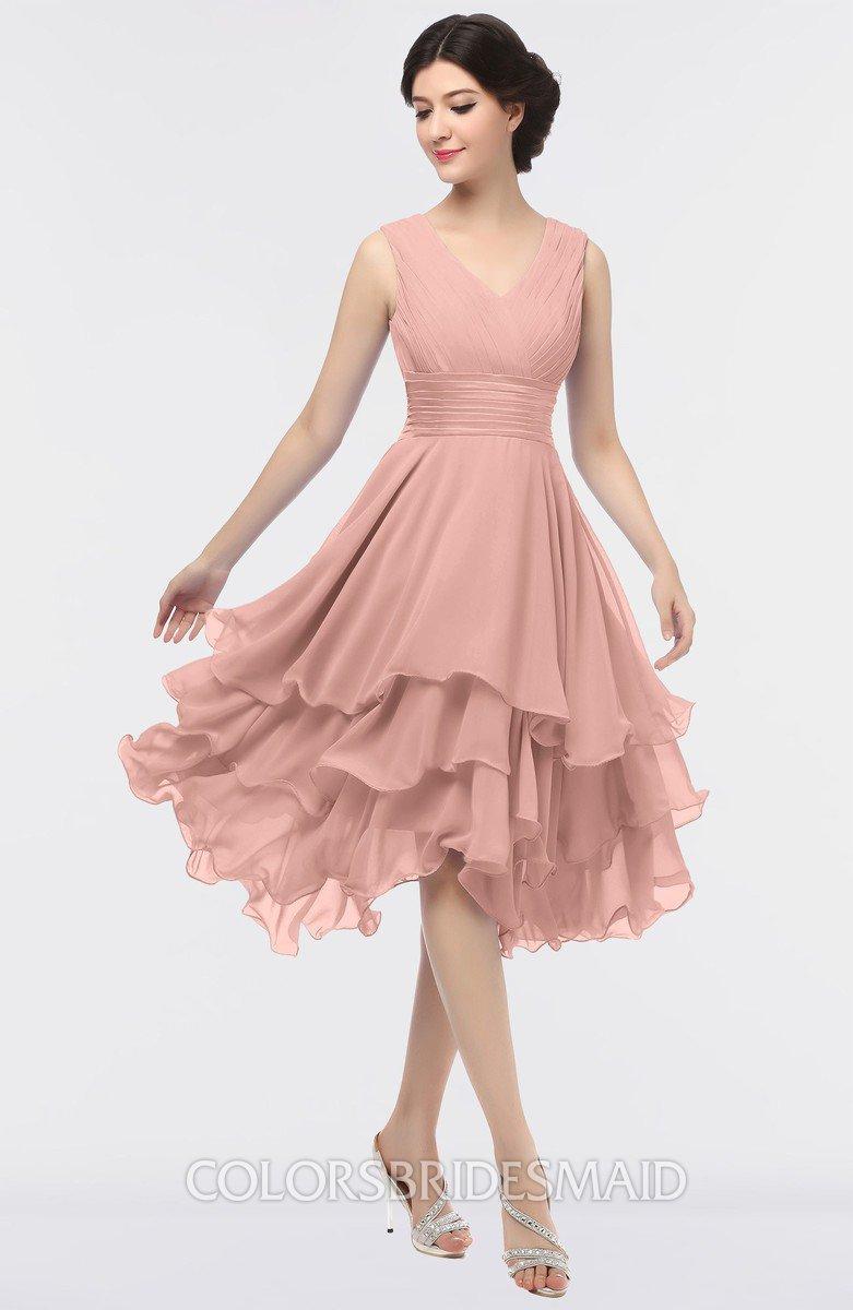 1159aa01d1 ColsBM Grace Light Coral Elegant V-neck Sleeveless Zip up Ruching  Bridesmaid Dresses