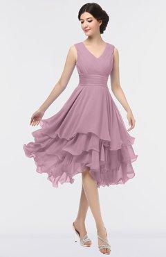ColsBM Grace Lilas Elegant V-neck Sleeveless Zip up Ruching Bridesmaid Dresses