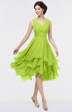 ColsBM Grace Lime Green Elegant V-neck Sleeveless Zip up Ruching Bridesmaid Dresses