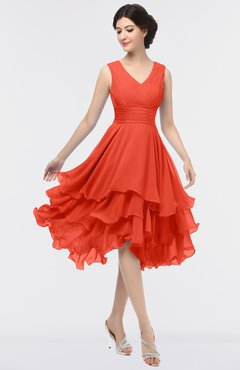 ColsBM Grace Mandarin Red Elegant V-neck Sleeveless Zip up Ruching Bridesmaid Dresses