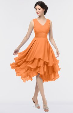 ColsBM Grace Mango Elegant V-neck Sleeveless Zip up Ruching Bridesmaid Dresses