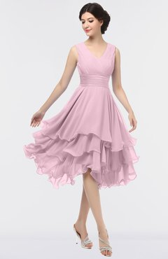 ColsBM Grace Mist Pink Elegant V-neck Sleeveless Zip up Ruching Bridesmaid Dresses