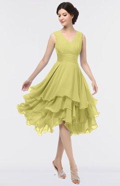 ColsBM Grace Muted Lime Elegant V-neck Sleeveless Zip up Ruching Bridesmaid Dresses
