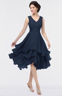 ColsBM Grace Navy Blue Elegant V-neck Sleeveless Zip up Ruching Bridesmaid Dresses