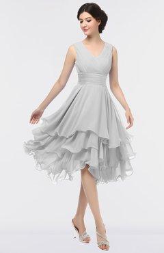 ColsBM Grace Nimbus Cloud Elegant V-neck Sleeveless Zip up Ruching Bridesmaid Dresses