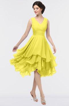 ColsBM Grace Pale Yellow Elegant V-neck Sleeveless Zip up Ruching Bridesmaid Dresses