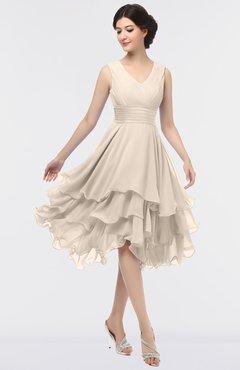 6be61bf87f ColsBM Grace Pastel Rose Tan Elegant V-neck Sleeveless Zip up Ruching  Bridesmaid Dresses