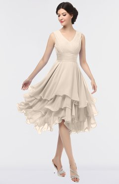 ColsBM Grace Pastel Rose Tan Elegant V-neck Sleeveless Zip up Ruching Bridesmaid Dresses