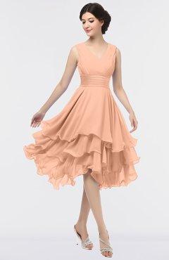 ColsBM Grace Peach Nectar Elegant V-neck Sleeveless Zip up Ruching Bridesmaid Dresses
