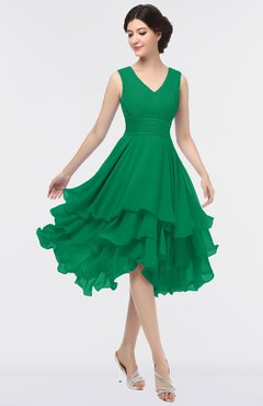ColsBM Grace Pepper Green Elegant V-neck Sleeveless Zip up Ruching Bridesmaid Dresses