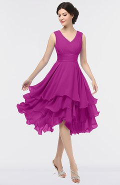 ColsBM Grace Raspberry Elegant V-neck Sleeveless Zip up Ruching Bridesmaid Dresses