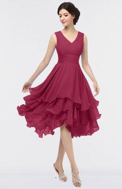 ColsBM Grace Red Bud Elegant V-neck Sleeveless Zip up Ruching Bridesmaid Dresses