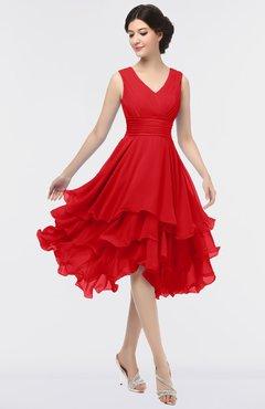 4572e9a3287d ColsBM Grace Red Elegant V-neck Sleeveless Zip up Ruching Bridesmaid Dresses