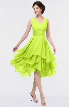 ColsBM Grace Sharp Green Elegant V-neck Sleeveless Zip up Ruching Bridesmaid Dresses
