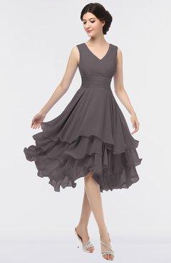 ColsBM Grace Sparrow Elegant V-neck Sleeveless Zip up Ruching Bridesmaid Dresses