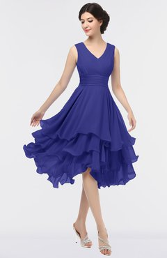 ColsBM Grace Spectrum Blue Elegant V-neck Sleeveless Zip up Ruching Bridesmaid Dresses