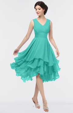 ColsBM Grace Turquoise G97 Elegant V-neck Sleeveless Zip up Ruching Bridesmaid Dresses