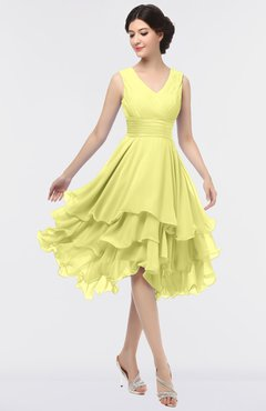 ColsBM Grace Wax Yellow Elegant V-neck Sleeveless Zip up Ruching Bridesmaid Dresses