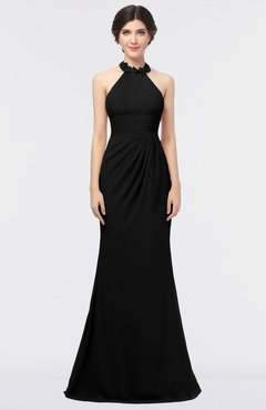 ColsBM Miranda Black Antique Halter Sleeveless Zip up Floor Length Bridesmaid Dresses