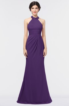 ColsBM Miranda Dark Purple Antique Halter Sleeveless Zip up Floor Length Bridesmaid Dresses