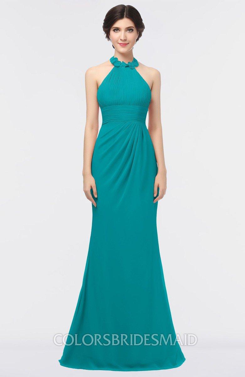 55dccfdcf55 ColsBM Miranda Peacock Blue Antique Halter Sleeveless Zip up Floor Length  Bridesmaid Dresses