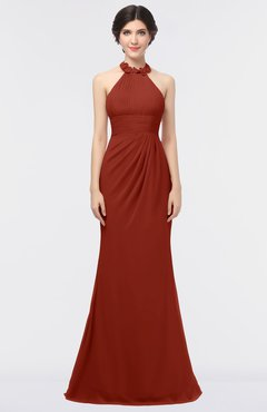 ColsBM Miranda Rust Antique Halter Sleeveless Zip up Floor Length Bridesmaid Dresses